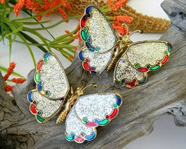 2 Vintage Trembler Butterfly Brooch Pin Wings Glitter Moves - €15,42 EUR