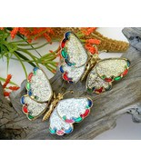 2 Vintage Trembler Butterfly Brooch Pin Wings Glitter Moves - $18.95