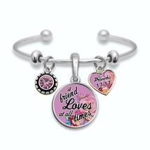 Friend's Love Proverbs 17:17 Silver Cuff Bracelet Christian Scripture Jewelry - $13.80