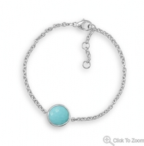 Sterling Silver Chain Bracelet with Faceted Turquoise Stone - $112.48 CAD