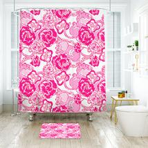 Flower Lilly Phi Mu Shower Curtain Waterproof & Bath Mat For Bathroom - $15.30+
