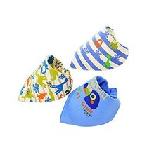 Blue,3Pcs Adjustable Soft Baby Neckerchief/Saliva Towel,Baby's Gift