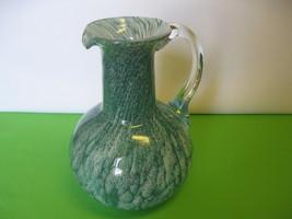 "Italian Elegant Glass Art Deco Blue Swirl Juice, Water 9"" Pitcher - $46.99"