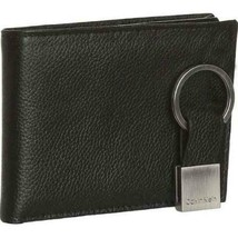 Calvin Klein Ck Men's Leather Bifold Id Wallet Key Chain Set Black 79080