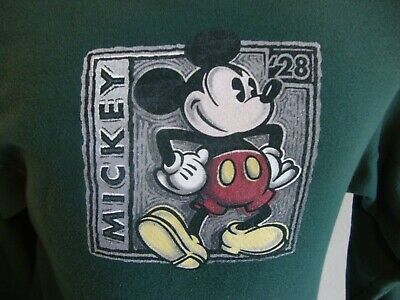 Primary image for Walt Disney Mickey Mouse green crew neck sweatshirt size S