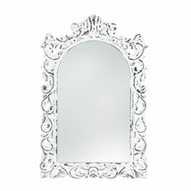 Vintage Style Distressed White Carved Ornate Flourishes Arched Frame Wall Mirror - $37.78