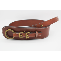 Michael Kors Double Buckle Leather Belt, Luggage, M $78 - £32.63 GBP