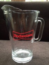 BUDWEISER BEER GLASS PITCHER RED BOWTIE LOGO LARGE 8.5 TALL Heavy Glass ... - $24.74