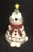 Stephanie Stouffer Sakura Pottery Hand Painted SNOWCAT Cookie Jar - $13.00
