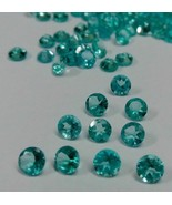 Natural Apatite 2.5mm Round Faceted Cut 10 Pieces Greenish Blue Loose Ge... - $24.03