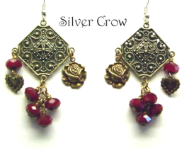 Bohemian Dark Red Crystal Brass Heart Rose Fili... - $17.99