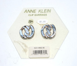 vintage Anne Klein Silver Clip earrings geometric round - $9.89