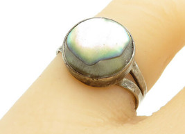 925 Sterling Silver - Vintage Abalone Shell Split Shank Band Ring Sz 6 -... - $22.15