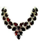 Table-Top Faceted Red Garnet Teardrops Sterling Silver Necklace Collar 9... - $283.00