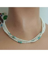 Elegant South West Native American Cultured Pearl & Turquoise Sterling N... - $129.95
