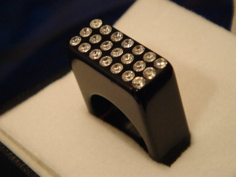 Luna Bianca Black Acrylic Ring by Pinky Swarovski Crystals Hand Made Size 6