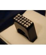 Luna Bianca Black Acrylic Ring by Pinky Swarovski Crystals Hand Made Size 6 - $24.98
