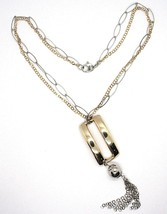 Necklace Silver 925, Double Chain, White and Yellow,Rectangle Fringe,Hanging image 2