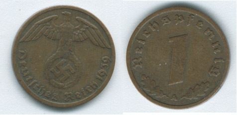 M57 - 1939 A - Deutsches Reich 1 Pfennig Germany Coin