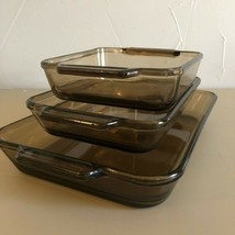 3 - Vintage Rectangle Casserole Dish Set Brown Baking Dishes Anchor Hock... - $24.75