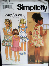 New Sewing Pattern Girls 5 and 6x Dress Simplicity 7904 - $6.95