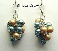 Aqua & Beige Pearl Cluster Earrings - $18.99