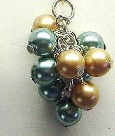 Aqua & Beige Pearl Cluster Earrings