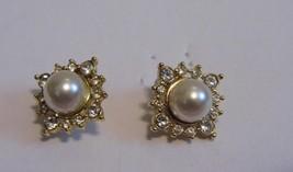 Gold Diamond Pearl Tone Pair Pierced Earrings Costume Fashion Jewelry LO... - $10.66