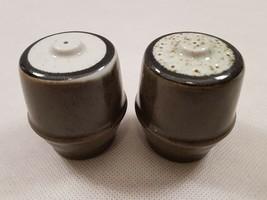 Vintage Mottled Green Brown Black Pottery Salt & Pepper Pots Shakers 196... - £14.21 GBP