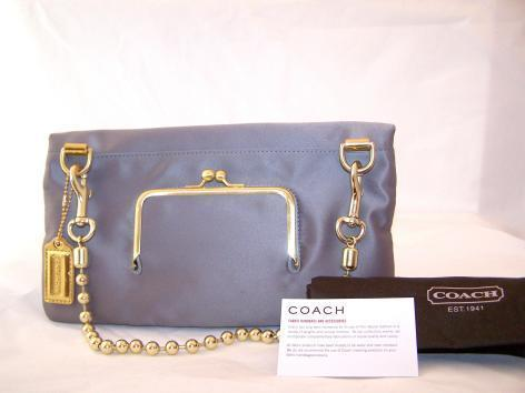 NEW Authentic COACH Amanda Satin Foldover Clutch Blk/Gry NWT 12926~msrp $298