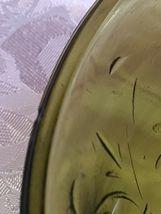 "Vintage Avocado Green Carnival Glass Fruit / Serving Bowl 7 1/2 "" x 7 1/2"" x 3"" image 8"