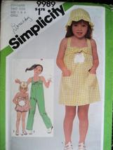 Simplicity 9989 Vintage 80s Pattern Child Size 3 and 4 Dress - $6.95