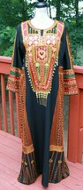 Indian Vintage Black Gold BOHO Mexican Cotton Embroidered Festival Maxi ... - $64.59