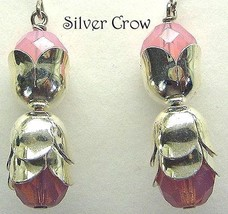 Silver Capped Pink Opalescent Glass Earrings - $11.99
