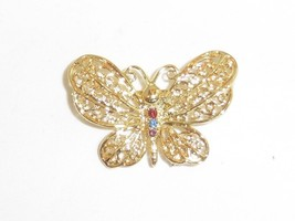 Vintage Signed Danecraft Filigree Butterfly Pin / Brooch  - $2.99