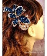 """Austrian Crystal Hair Claw Clip """"Brooke"""" Sapphire Blue free organza bag - $16.75"""