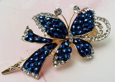 """Austrian Crystal Hair Claw Clip """"Brooke"""" Sapphire Blue free organza bag"""