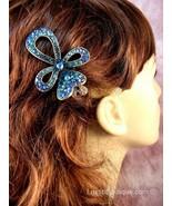 "Austrian Crystal Hair Claw Clip ""Cassey"" Teal Blue free organza bag - $14.75"