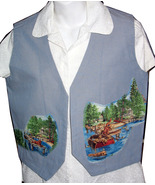 Blue Vest with swimming dogs - size 12 - $30.00