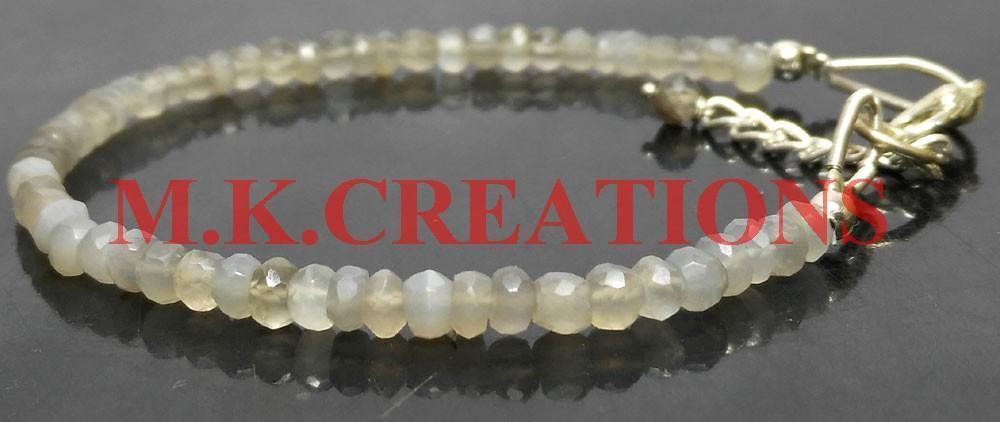 "Primary image for Natural Gray Moonstone 3-4mm Beads 7.5"" Long 925 Silver Beaded Chain Bracelet"