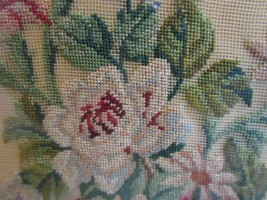 Antq. Framed Needlepoint Floral Picture, Intricate work on fine netting,... - $49.99