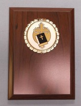 bible & cross  insert religion plaque trophy 5 x 7 size cherry finish board - $4.99
