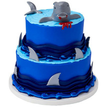 Shark Fin Cake Decoration Party Supplies TOPPER KIT Ocean Animals PLUS 1... - $14.80