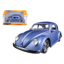 1959 Volkswagen Beetle Satin Metallic Blue with 5 Spoke Wheels 1/24 Diec... - $30.60