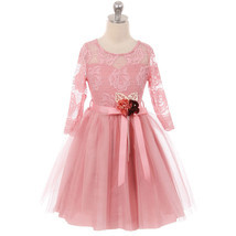 Rose Long Sleeve Floral Lace Illusion Top Tulle Skirt Flower Girls Dresses - $39.84 CAD+