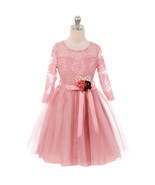 Rose Long Sleeve Floral Lace Illusion Top Tulle Skirt Flower Girls Dresses - $29.99+