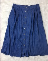 Vintage Koret City Blues Denim Button Front Midi Skirt - Pockets! Size L - $21.78