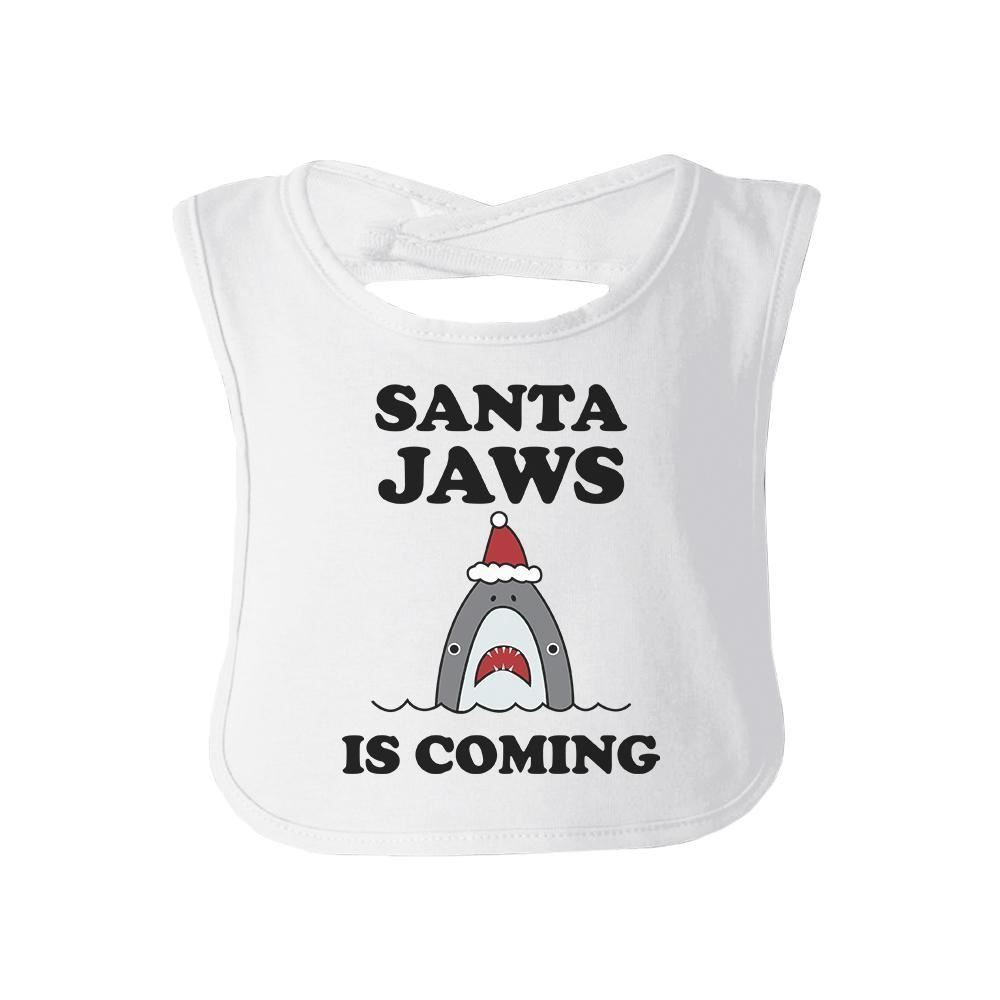 Primary image for Santa Jaws Is Coming Baby White Bib