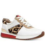 Michael Kors MK Women's Allie Trainer Leather Sneakers Shoes Natural Cheetah
