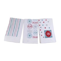 3 X FESTIVE CHRISTMAS SNOWFLAKES STAMPS SPOTS KITCHEN TEA TOWELS 100% CO... - $18.28